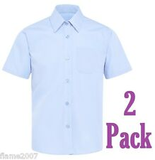 M&S Girls 2 SHORT Sleeve EASY Iron BLUE Blouses STAIN Resis 12 Year SCHOOL Shirt
