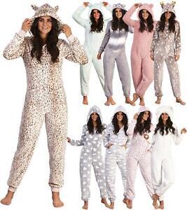 Ladies Luxury Soft Coral/Sherpa Fleece Animal 3D Hood All in One Pyjamas 1Onesie