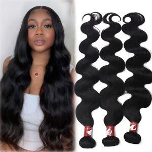 8A 100% Human Hair Extension Bundles Weave Weft Brazilian/Peruvian Virgin #Black