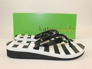 NIB KATE SPADE Size 10 Woman's Black White Stripe MILLI Rubber Sandal Flip Flop