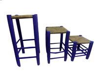 Set of 3 Moroccan Garden wooden stools