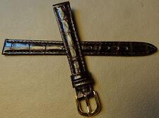 12mm Regular Womens Leather Dark Brown Crocodile Watch Band Gold Tone Buckle