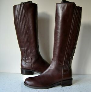 """CLARK`S """"MARQUETTE SILK"""" DK.BROWN LEATHER KNEE HIGH RIDING BOOTS UK6.5D RRP £160"""