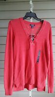 CHAPS Pink Red Bohemian Long Sleeve Sweater Top Lace Up NWT$59