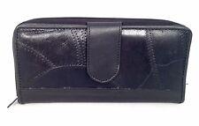 Black Leather Patchwork Accented Clutch Wallet Coin Cards Organizer Zip Around