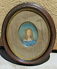 19th Century Oval Pastel Portrait of a Young Lady