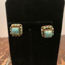 Vintage Czechoslovakia Screw Back Earrings Blue Stone