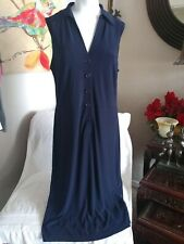 Adrianna Papell Womens Dark Navy Button Front Sleeveless Dress Size 12