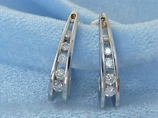14K  White Gold Post Earrings with 10 Diamonds, TCW .30 carat,
