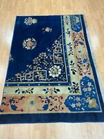 """4'6"""" x 6'6"""" Antique Chinese Art Deco Oriental Rug - 1920s - Hand Made 100% Wool"""