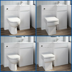 Bathroom Vanity Unit Basin Sink Toilet Combined Furniture Left/Right Hand White
