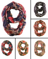 Womens Light Gauze Scarf Neck Wrap Colorful Paisley Print Infinity Scarf