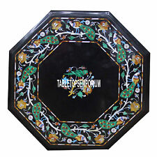 "24"" Marble Coffee Table Top Marquetry Peacock Inlay Garden Hallway Bedroom Decor"