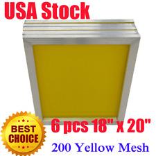"USA 6Pcs 18"" x 20"" Aluminum Silk Screen Printing Frame With 200 Yellow Mesh"