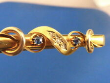 Victorian stamped 15 carat yellow gold Old Mine Cut diamonds sapphire bar pin