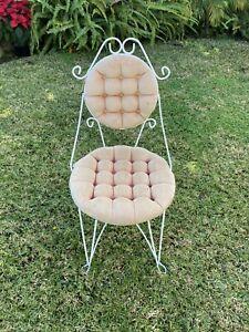 Vintage Boudoir Vanity Upholstered Dressing Chair Iron Metal Teena 1950s