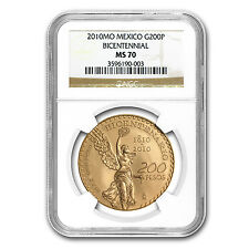 2010 Mexico Gold 200 Pesos Bicentenary Commemorative MS-70 NGC - SKU #74398