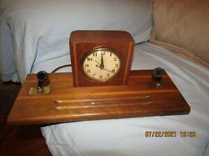 Vintage Telechron Combo Electric Alarm Clock & Double Ink Pen Holder