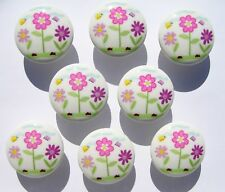 8 DAISY FLOWER GARDEN DRAWER DRESSER KNOBS GIRLS KIDS MADE AS ORDERED