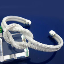 Wholesale Price 925Sterling Silver Lovely White Knot Mesh Bangle Bracelet B091