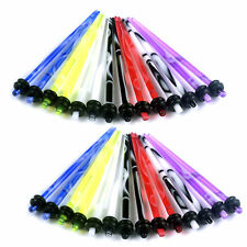 Black White Red Pink Blue Green 14g Acrylic Pair Ear Stretchers Tapers Marble