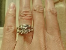Vintage 14k white gold wedding set 0.10ct VS1 J diamond engagement ring band 5