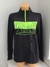 VICTORIA'S SECRET VS Rose Anthracite & Citron Vert 1/4 Zip Graphique Pull Taille XS
