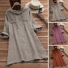 Women's Long Sleeve Casual Plain Shirt Tops Oversize Loose Cotton Ethnic Blouse
