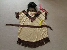 Pocahontas Indian Costume inc Black Wig Fancy Dress Book Day Outfit Size12-16