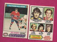 1977-78 OPC CANADIENS GUY LAPOINTE AS + GUY LAFLEUR LEADERS CARD
