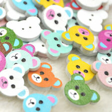 100pcs Mix Wood Buttons Baby Bear Head Sewing Craft 2 Holes WB291