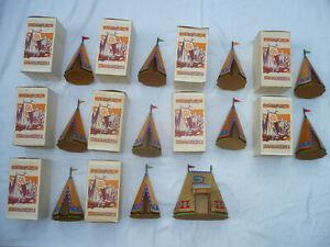 Elastolin 11 Indianer Holz Zelte Tipis Lager 10 x ORIGINALVERPACKUNG Wild West