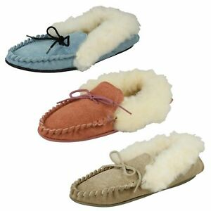 Ladies Spot On Slip On Slippers 'Real Suede Moccasin'