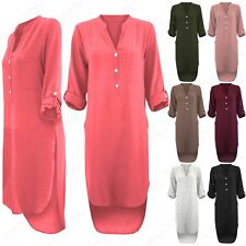 OVERSIZED WOMENS CHIFFON CREPE SHIRT DRESS LADIES SPLIT LONG HI LO DIP HEM TOP