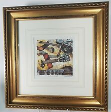 "Watercolor Art ""ACOUSTIC GUITAR"" Gold Frame Numbered and Signed by Hand"