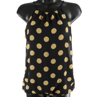Express Black & Brown Polka Dot Sleeveless Top Women's Size XS