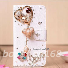NEW Bling Diamonds PU leather flip slots stand wallet case cover For Samsung LG