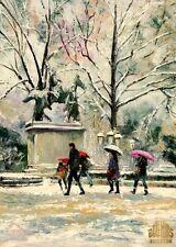 Paris City Snow Arc de Triomphe Light Ltd Edition ACEO Print Art Yary Dluhos