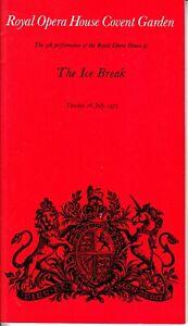 Opera Programme 1977 Covent Garden PREMIERE series The Ice Break Michael Tippett