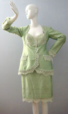 LORIS AZZARO Women's  Size 7-8 Green Skirt Suit Dress (Made in France)