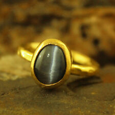 Handmade Hammered Designer Grey Cat Eye Ring 24K Gold Over 925K Sterling Silver