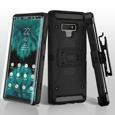 Samsung Galaxy Note 9 Hybrid Armor Rubber Hard Case Cover HOLSTER + SCREEN Black
