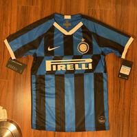 Inter Milan Pirelli 2019-2020 Home Jersey Youth XL/Adult S Blue Black Stripes