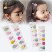 5PC/SET Korean Fur Ball Pompom Hair Clip Pin Barrettes Headwear For Baby Girl US