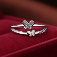 Elegant White Sapphire Butterfly Wedding Ring 925 Silver Engagement Jewelry Gift