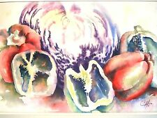 "PEPPERS & CABBAGE Original Water Color Painting, Artist Signed, Framed 31""x 24"""