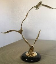 """Curtis Jere- """"Seagulls In Flight"""" Solid Brass With Marble Base"""