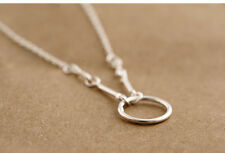 """Solid 925 Sterling Silver Circle Ring Loop Hoop Pendant Chain Necklace Gift 18"""""""