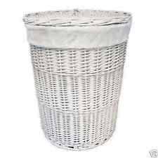 Willow Wicker Laundry Basket With Lid & Lining Clothes Storage Bin Linen White