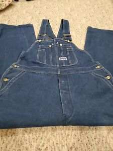 Big Smith By Walls Men's Rigid Denim Bib overalla button fly 40 X 30